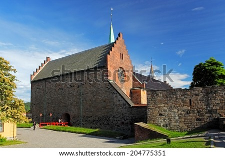 Akershus castle in Oslo - stock photo