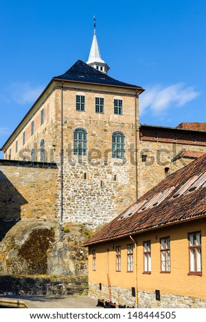 Akershus Fortress, a medieval castle that was used as a prison, Oslo,  Norway. - stock photo