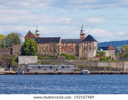 Akershus Fortress (Akershus Festning), Oslo, Norway - view from the sea  - stock photo