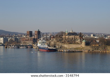 Akershus fortress and The City hal in Oslo - stock photo