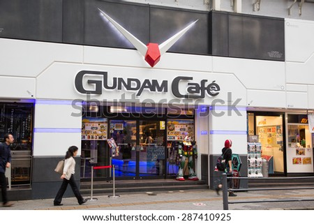 AKIHABARA, JAPAN - CIRCA JUNE, 2014 : Gundam cafe is a popular cafe among tourists named after a titula anime Gundam.