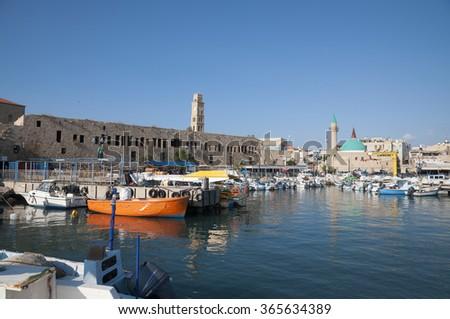 Akko, Acre port and old city - stock photo