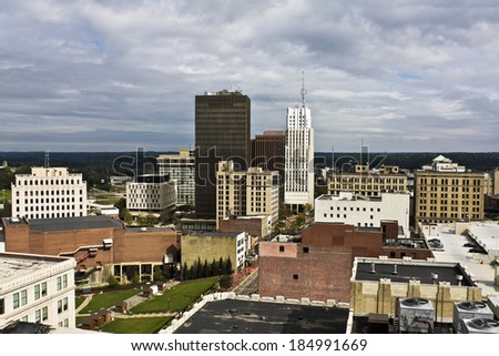 Akron, Ohio - downtown buildings seen during cloudy day. - stock photo