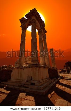 akropolis antique city, Pergamon (Bergama) - stock photo