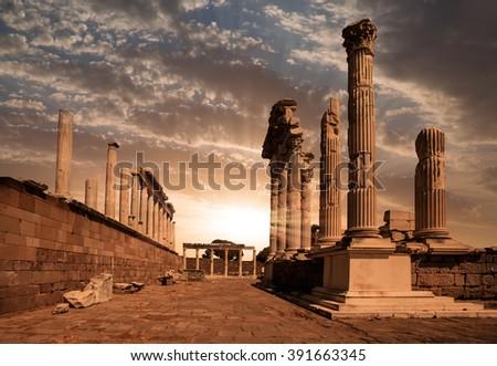 Akropolis antique city, Pergamon (Bergama) Turkey - stock photo