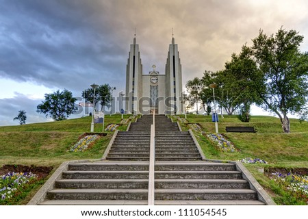 Akureyrarkirkja - The Church of Akureyri - The Church of Akureyri is a prominent Lutheran church in Akureyri, northern Iceland, located in the centre of the city. - stock photo