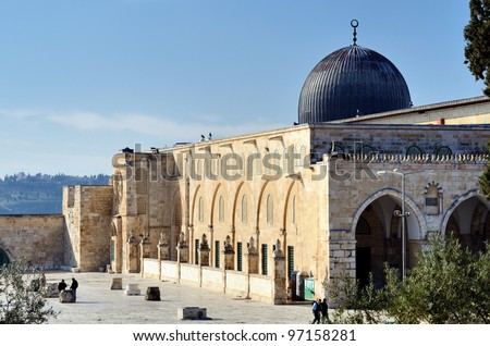 Al Aqsa Mosque in Jerusalem, the 3rd holiest site in Islam. - stock photo