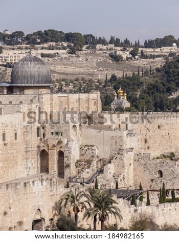 Al-Aqsa Mosque in the Old City of Jerusalem, Israel  - stock photo
