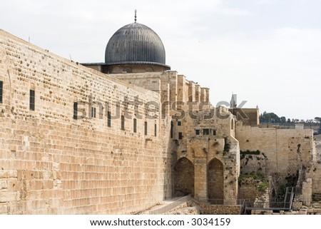 Al-Aqsa Mosque on the Temple Mount, Jerusalem. - stock photo