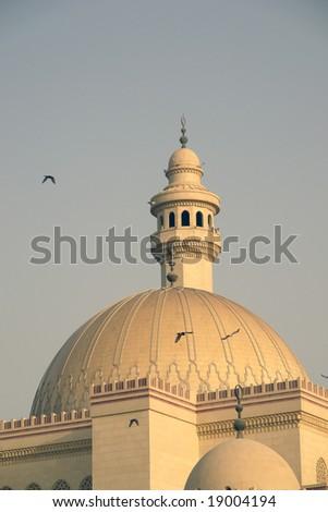 Al-fateh Grand Mosque  in bahrain - Dome and minaret detail - stock photo