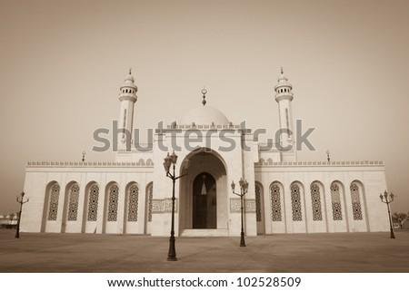 Al-Fateh Grand Mosque in Bahrain - Sepia - stock photo
