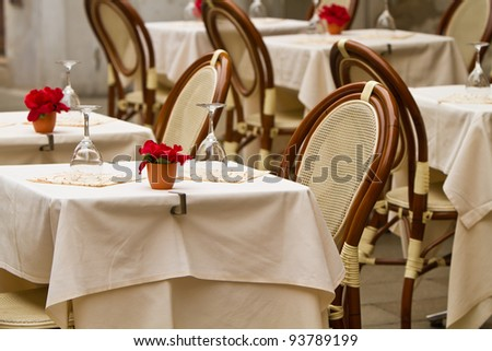 Al Fresco dining in Italy - stock photo
