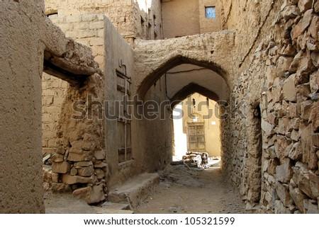 Al Hamra Yemen Village in Oman in the Middle East. - stock photo