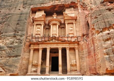 Al Khazneh front view - the treasury of Petra ancient city, Jordan - stock photo