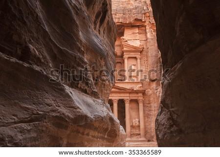 Al Khazneh or The Treasury at Petra, Jordan - stock photo