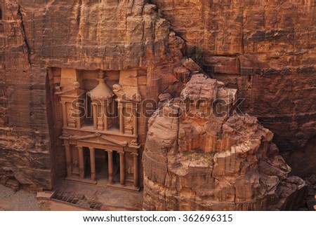 Al Khazneh or The Treasury at Petra. Jordan. - stock photo