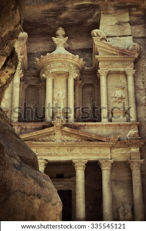 Al Khazneh or The Treasury at Petra, Jordan. Filtered image, vintage effect applied - stock photo