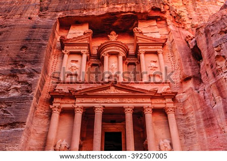 Al Khazneh or The Treasury at Petra, Jordan. Petra is one of the New Seven Wonders of the World. UNESCO World Heritage