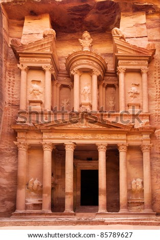 Al Khazneh - the treasury of Petra ancient city, Jordan - stock photo
