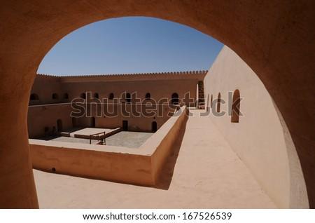 Al Mintrib Fort in Oman, Arabia - stock photo