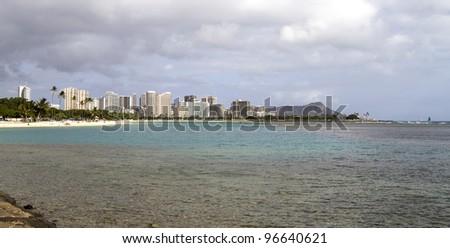 Ala Moana beach in Waikiki, Oahu with Diamond Head in the background - stock photo