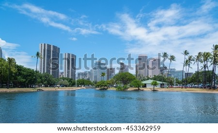 Ala Wai boat harbor near Waikiki in Honolulu, Hawaii, USA