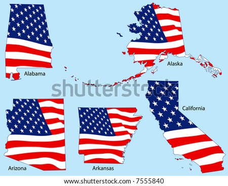 Alabama, Alaska, Arizona, Arkansas and California outlines with flags