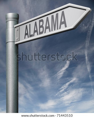 Alabama road sign arrow pointing towards one of the united states of america signpost with clipping path