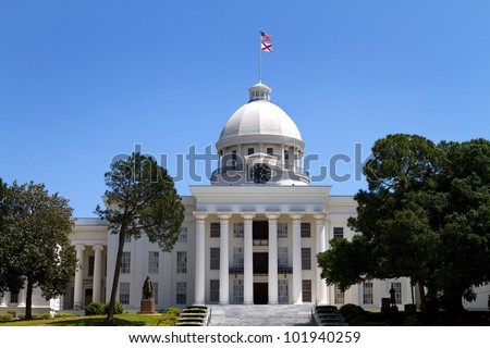 Alabama State Capitol building and grounds in Montgomery, Alabama, USA against a blue sky. - stock photo