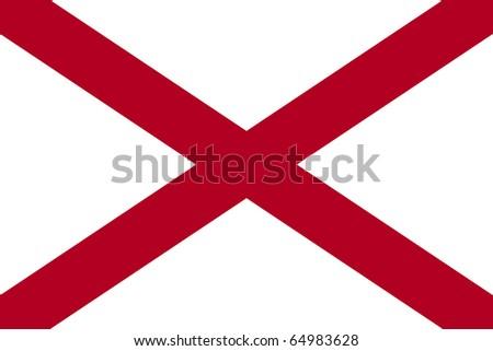 Alabama state flag of America, isolated on white background. - stock photo