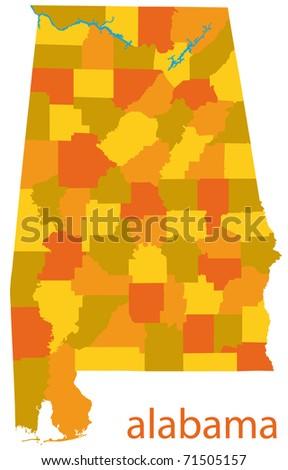 alabama state map - stock photo