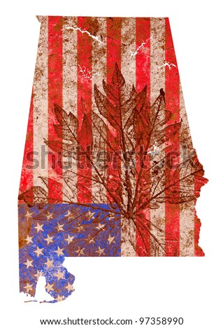 Alabama state of the United States of America in grunge flag pattern isolated on white background - stock photo