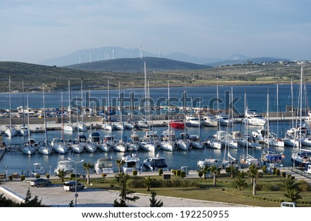 ALACATI, TURKEY - MAY 08, 2014: Alacati port in Izmir on May 08, 2014 in Izmir .Alacati, well known for its architecture, vineyards and windmills is a popular summer tourist destination.  - stock photo