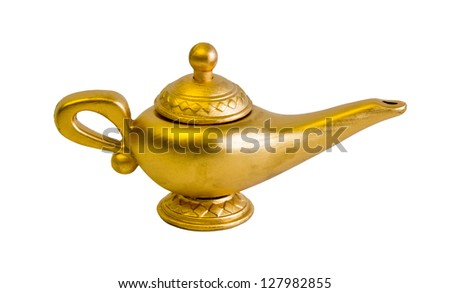 aladdin and the genius magic lamp - stock photo