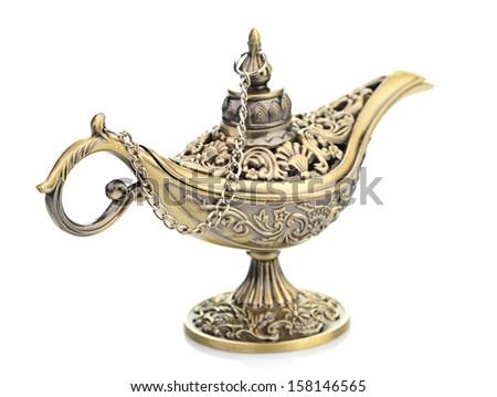 Aladdin magic lamp isolated on white - stock photo