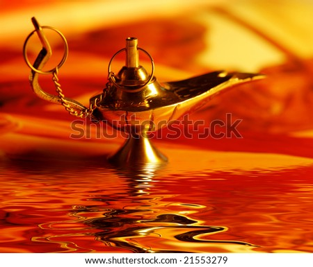 aladdin's magic lamp - stock photo