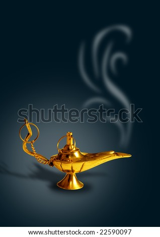 aladdin's magic lamp in black background with smoke - stock photo
