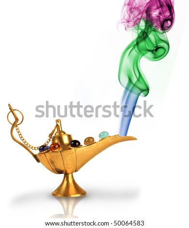 Aladdin's magic lamp with pearls and colorful smoke isolated on white - stock photo