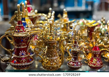 Aladdin style lamps on the market in Muscat, Oman - stock photo
