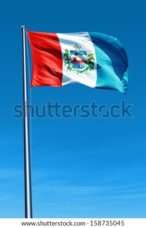 Alagoas (Brazil) flag waving on the wind