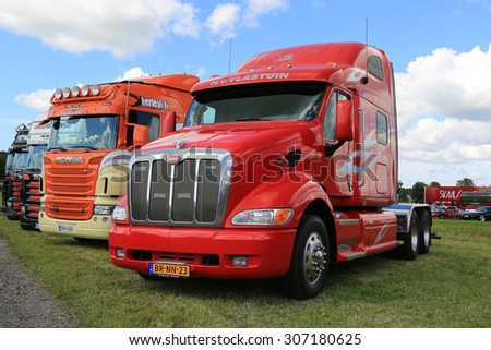 ALAHARMA, FINLAND - AUGUST 7, 2015: Red Peterbilt truck tractor from Netherlands in Power Truck Show 2015. - stock photo
