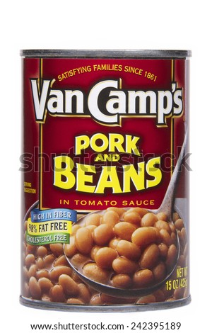 ALAMEDA, CA - JANUARY 07, 2015: 15 ounce can of Van Camp's brand Pork and Beans in Tomato Sauce.