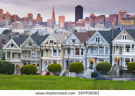 Alamo Square at sunset, San Francisco, USA - stock photo