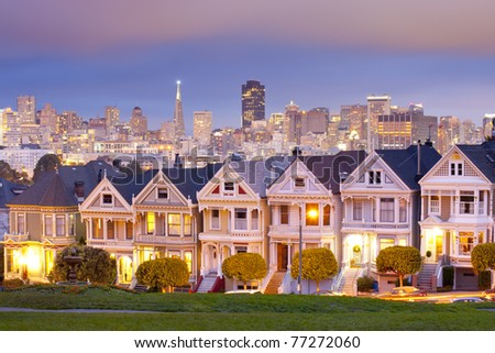 Alamo Square at twilight with clouds in the sky, San Francisco - stock photo
