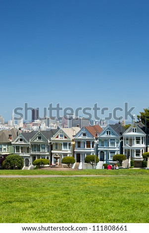 Alamo Square in San Francisco - stock photo