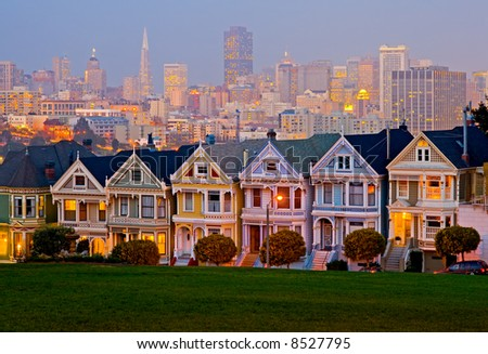 Alamo Square in San Francisco at night - stock photo