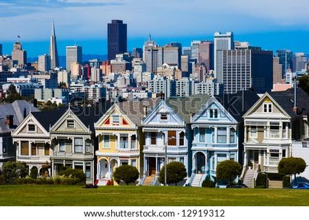 "Alamo Square in San Francisco ""six sisters"" - stock photo"