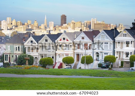 Alamo Square in San Francisco, the seven sister Victorian style house