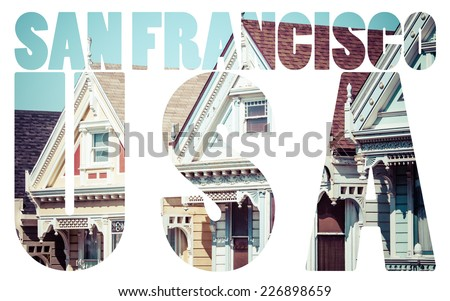 Alamo Square, San Francisco, USA  - stock photo