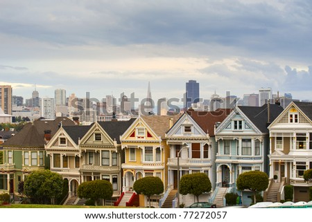 Alamo Square with beautiful clouds in the sky, San Francisco - stock photo